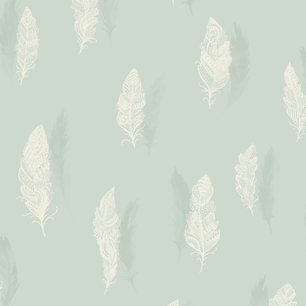 Holden Decor Quill Feather Pattern Nature Bird Silhouette Leaf Wallpaper 11501