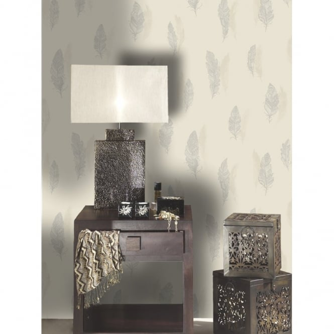 Holden Decor Quill Feather Pattern Nature Bird Silhouette Leaf Wallpaper 11502