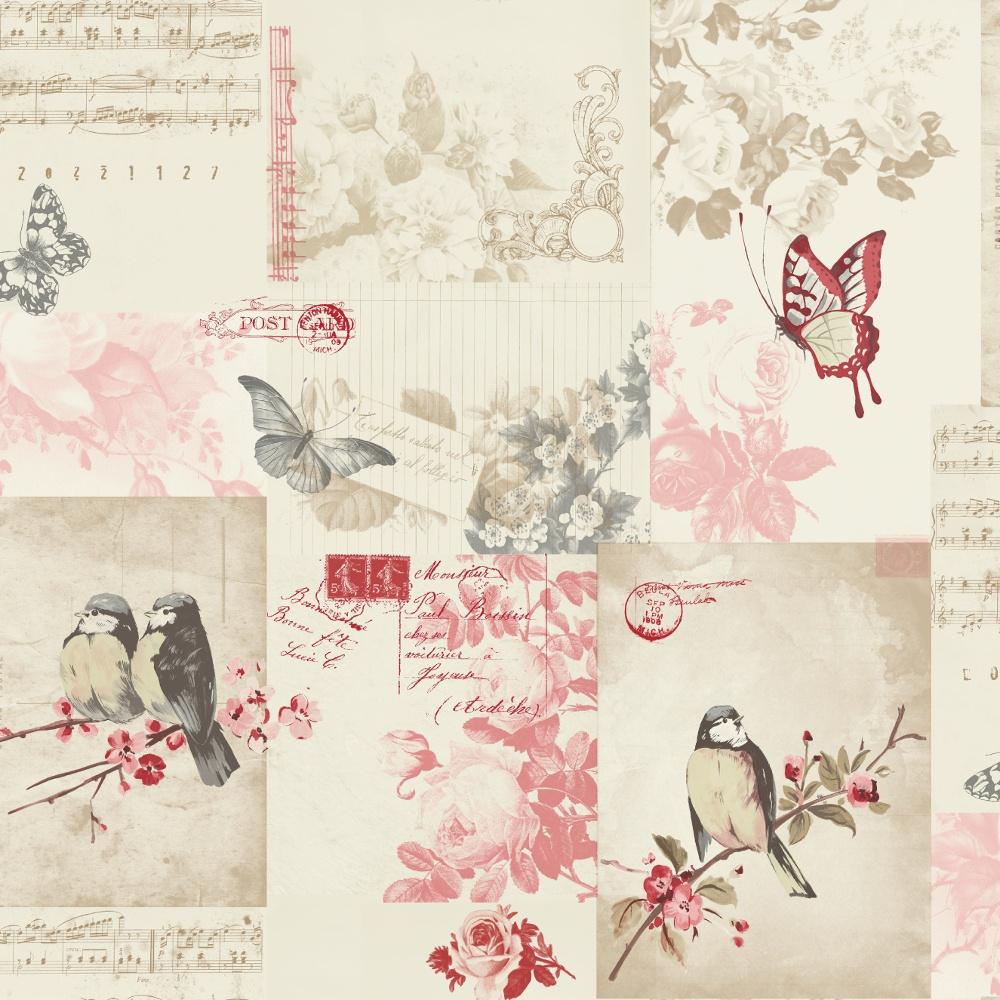 Holden Decor Songbird Bird Butterfly Rose Patterned Postcard Cream Wallpaper 11264