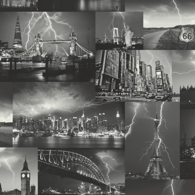 Holden Decor Storm New York London Paris Black White City Photo Wallpaper 98030
