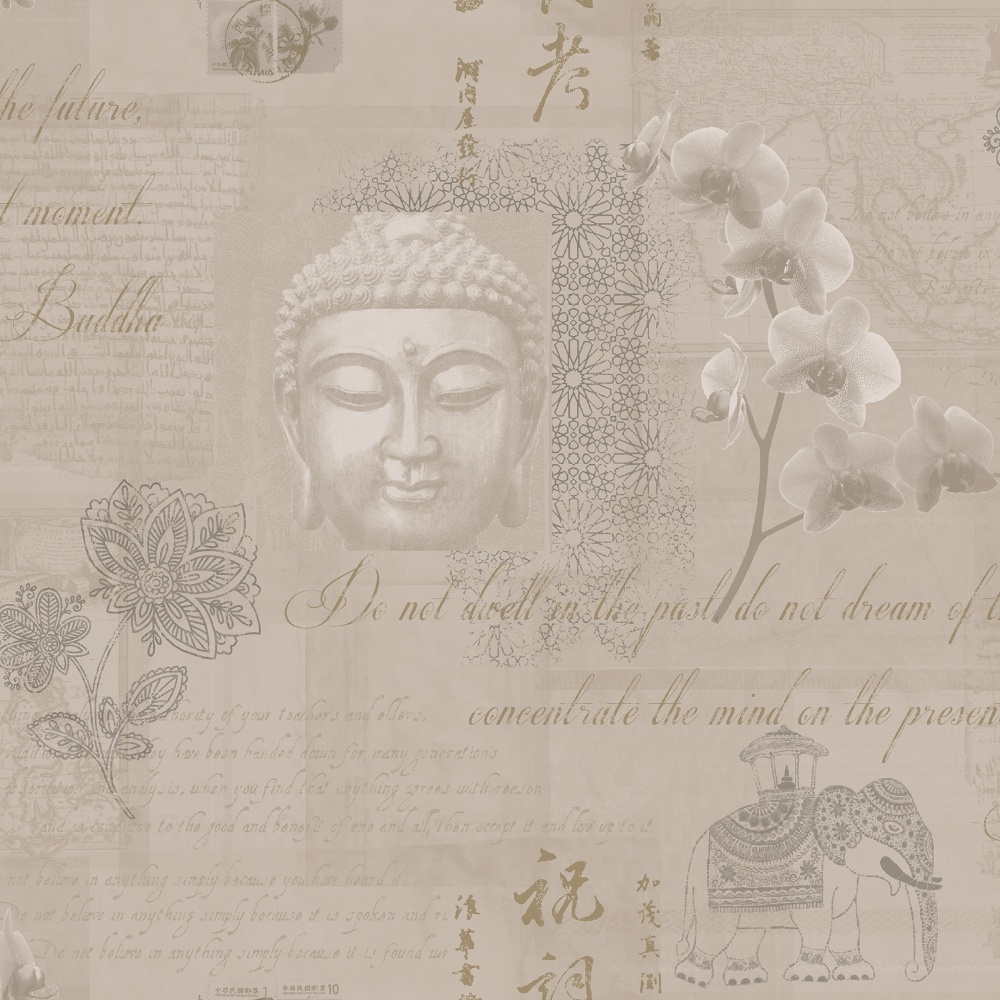 Merveilleux Holden Decor Tranquillity Gold Buddha Flower Elephant Calligraphy Wallpaper  97980