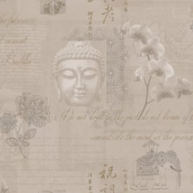 Holden Decor Tranquillity Gold Buddha Flower Elephant Calligraphy Wallpaper 97980