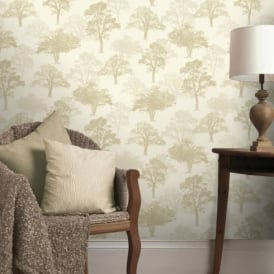 Holden Decor Woodland Forest Pattern Tree Nature Glitter Motif Wallpaper 11470