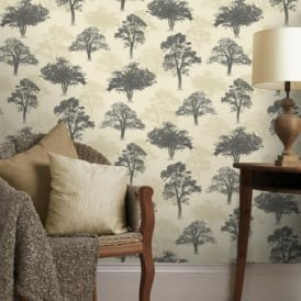 Holden Decor Woodland Forest Pattern Tree Nature Glitter Motif Wallpaper 11472