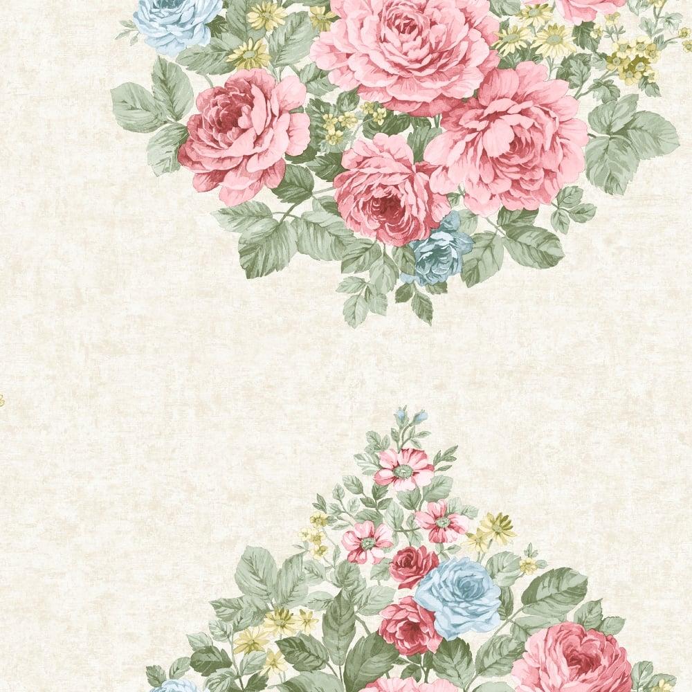 Holden Eden Hall Harper Rose Flower Pattern Wallpaper Floral Motif Metallic 98742
