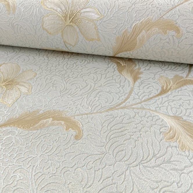 Holden Decor Holden Floriana Flower Pattern Wallpaper Floral Damask Motif Glitter Italian Vinyl 35305