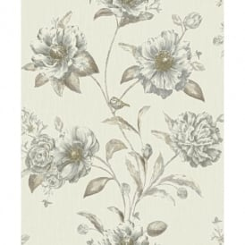 Holden K2 Adela Floral Pattern Birds Flower Motif Textured Vinyl Wallpaper 75710