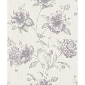 Holden K2 Adela Floral Pattern Birds Flower Motif Textured Vinyl Wallpaper 75712
