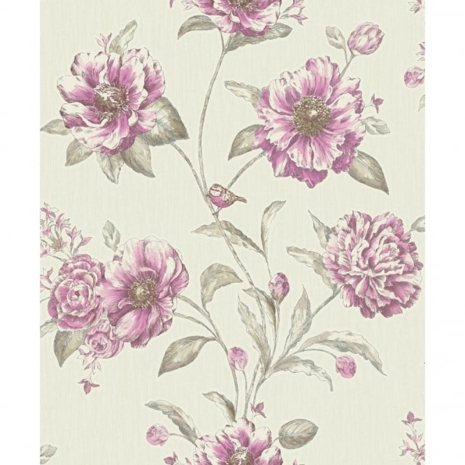 Holden Decor Holden K2 Adela Floral Pattern Birds Flower Motif Textured Vinyl Wallpaper 75713