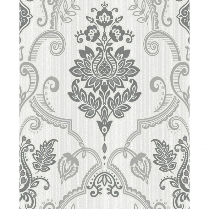 Holden Decor Holden Sandringham Floral Damask Pattern Glitter Vinyl Textured Wallpaper 75730