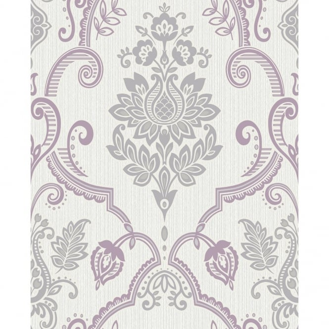 Holden Decor Holden Sandringham Floral Damask Pattern Glitter Vinyl Textured Wallpaper 75731