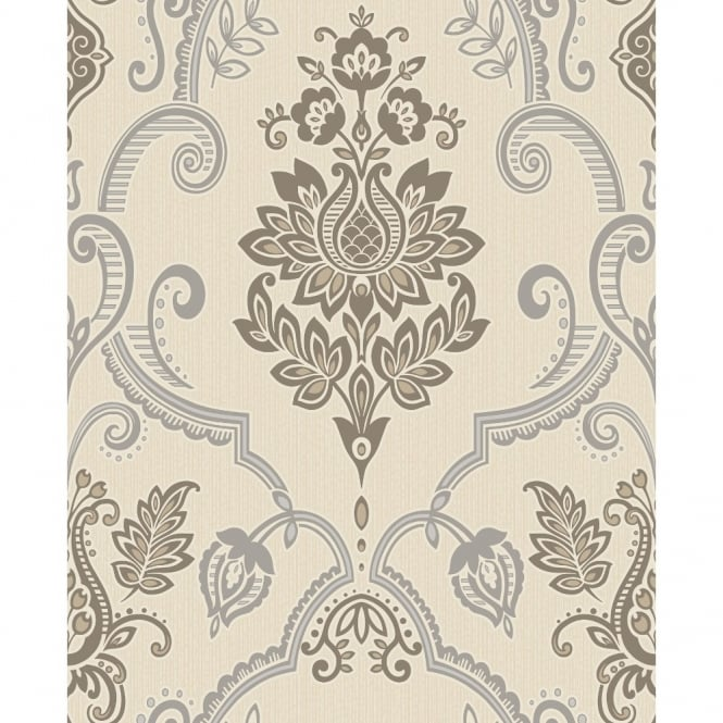 Holden Decor Holden Sandringham Floral Damask Pattern Glitter Vinyl Textured Wallpaper 75734