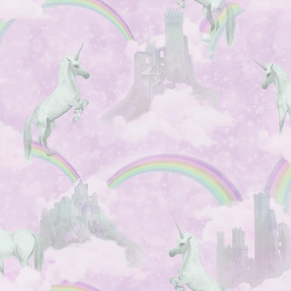 holden unicorns pattern childrens pink wallpaper glitter motif castle rainbow p4873 13145 image