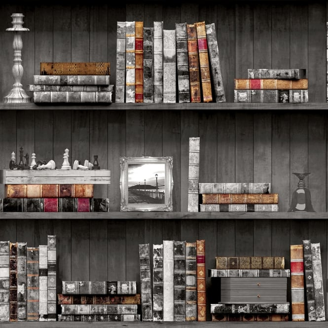 Holden Decor Holden Vintage Book Case Pattern Wallpaper Faux Effect Wood Shelf Library 11951