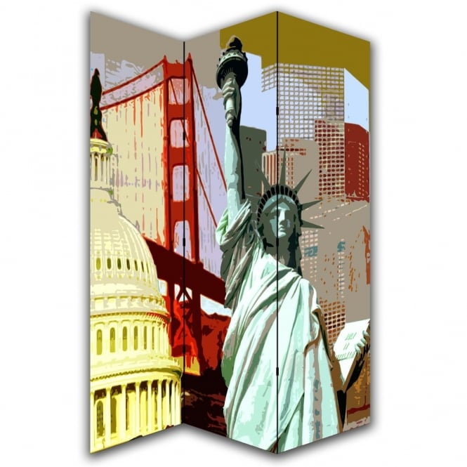 I Want Wallpaper America Statue of Liberty Canvas Dressing Privacy Screen Folding 3 Panel Room Divider HW6178
