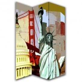 America Statue of Liberty Canvas Dressing Privacy Screen Folding 3 Panel Room Divider HW6178