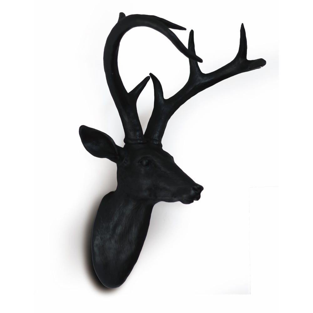 Black Wall Mounted Deer Stag Head Wall Art Hanging Decoration Ornament  62 9895E