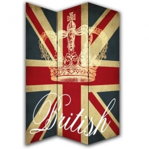 British Union Jack Flag Canvas Dressing Privacy Screen Folding 3 Panel Room Divider HW6222