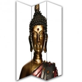 Buddha Statue Canvas Dressing Privacy Screen Folding 3 Panel Room Divider HW6215