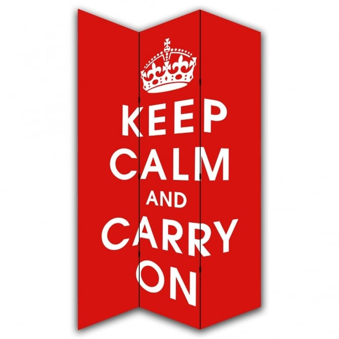 I Want Wallpaper Keep Calm and Carry On Canvas Dressing Privacy Screen Folding 3 Panel Room Divider HW6147