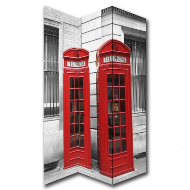 I Want Wallpaper London 2 Red Phone Box Canvas Dressing Privacy Screen Folding 3 Panel Room Divider HW6284