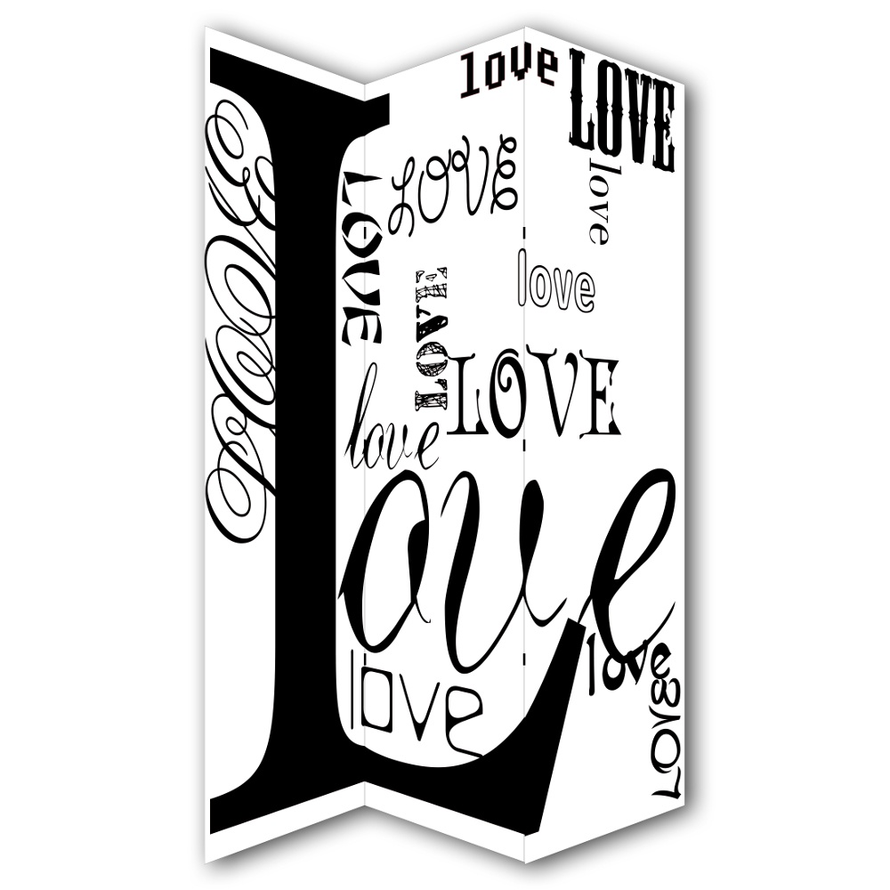love typography canvas dressing privacy screen folding 3 panel room