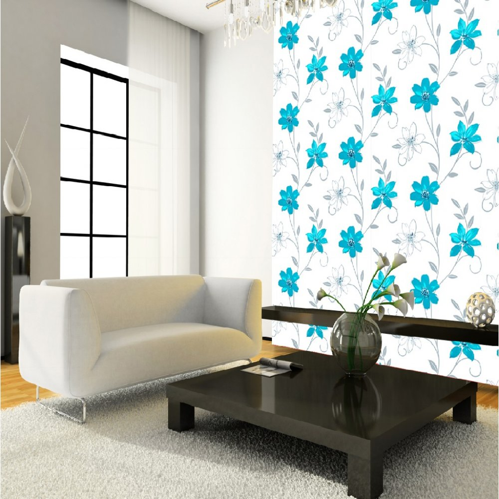 Floral leaf motif patterned blue white metallic wallpaper roll 417107