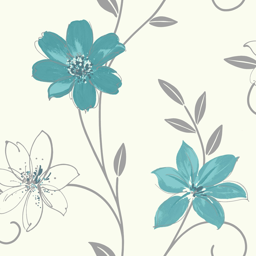 Luciana flower floral leaf motif blue white metallic wallpaper luciana flower floral leaf motif blue white metallic wallpaper produced by arthouse 417107 mightylinksfo