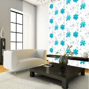 Luciana Flower Floral Leaf Motif Blue White Metallic Wallpaper Produced by Arthouse 417107