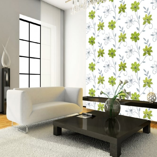 I Want Wallpaper Luciana Flower Floral Leaf Motif Green White Metallic Wallpaper Produced By Arthouse 417103