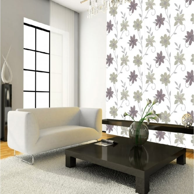 I Want Wallpaper Luciana Flower Floral Leaf Motif Neutral Metallic Wallpaper Produced By Arthouse 417104