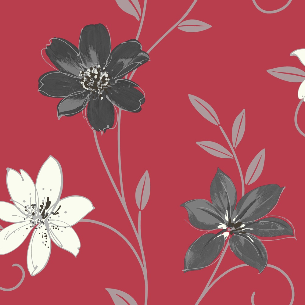 Luciana Flower Floral Leaf Motif Red Black Metallic Wallpaper Produced By Arthouse 417106