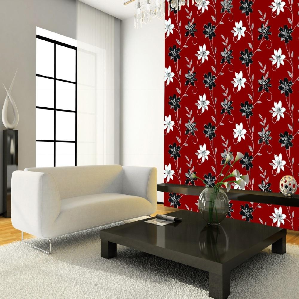 Luciana flower floral leaf motif pattern red black for Red flower wallpaper living room