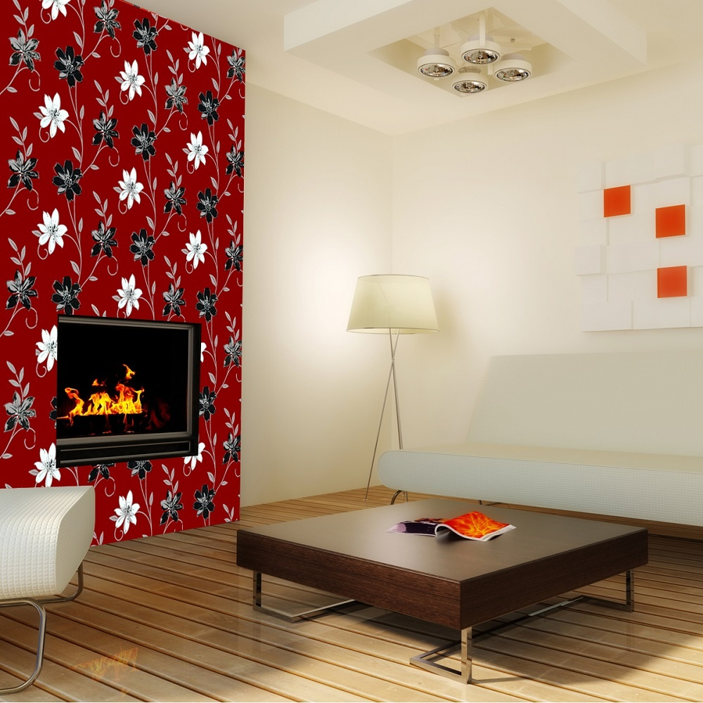 Luciana Flower Floral Leaf Motif Red Black Metallic Wallpaper