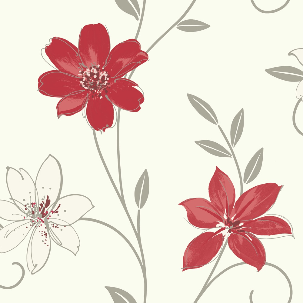 Luciana Flower Floral Leaf Motif Red White Metallic Wallpaper Produced By Arthouse 417105