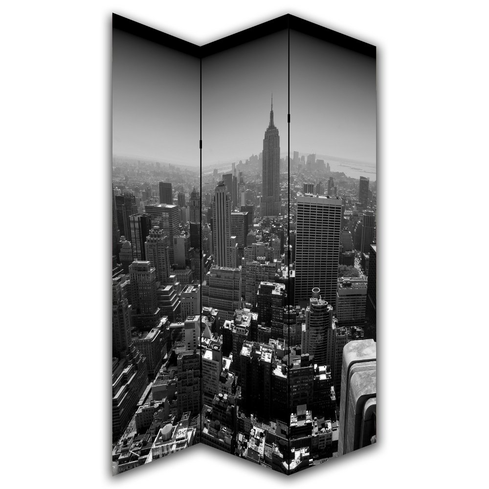 new york black white canvas privacy screen folding room divider. Black Bedroom Furniture Sets. Home Design Ideas