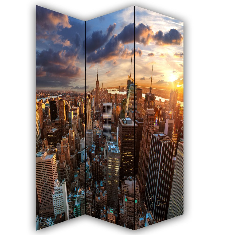 New York Skyline Canvas Privacy Screen Folding 3 Panel