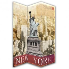 New York Postcard Canvas Dressing Privacy Screen Folding 3 Panel Room Divider HW6208