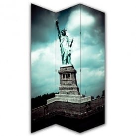 Statue of Liberty New York Canvas Dressing Privacy Screen Folding 3 Panel Room Divider HW6246