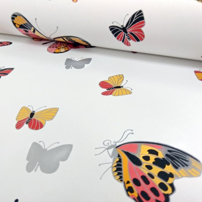I Want Wallpaper IWW Butterfly Butterflies Motif Patterned Metallic Silver Wallpaper J725A Produced By Arthouse