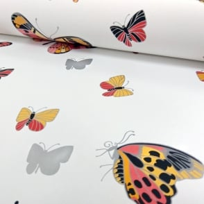 IWW Butterfly Butterflies Motif Patterned Metallic Silver Wallpaper J725A Produced By Arthouse