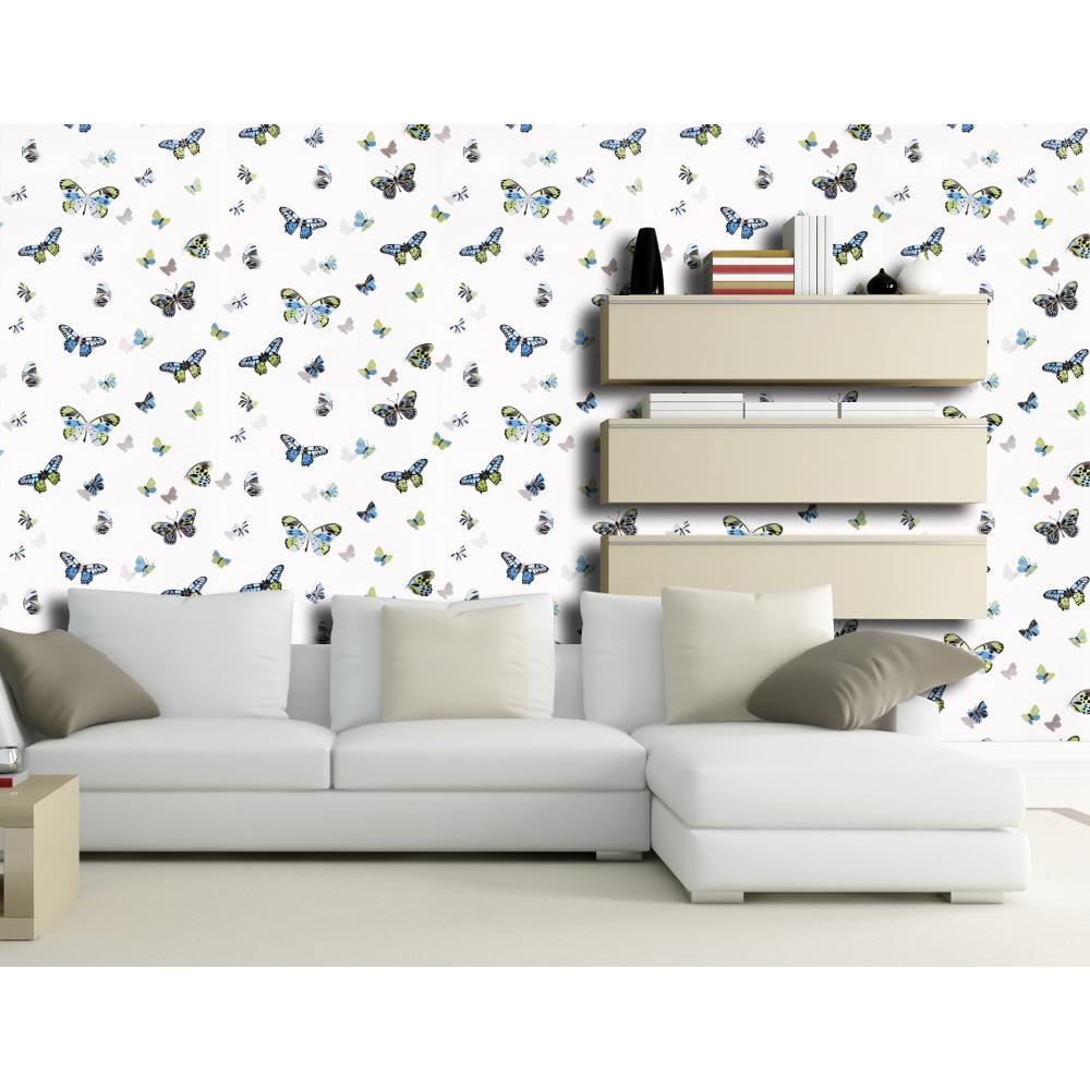 butterfly butterflies motif patterned metallic silver wallpaper j725b