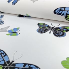 IWW Butterfly Butterflies Motif Patterned Metallic Silver Wallpaper J725B Produced By Arthouse