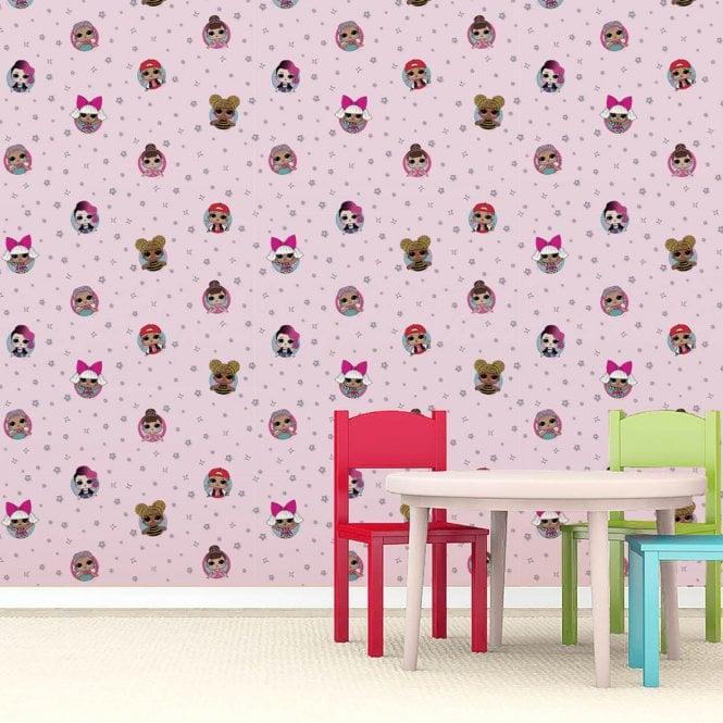 LOL Surprise Dolls Children's Star Girls Bedroom Baby Pink Wallpaper  WP4-LOL-FRD-12