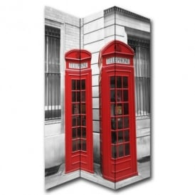 London 2 Red Phone Box Canvas Dressing Privacy Screen Folding 3 Panel Room Divider HW6284