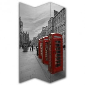 London 3 Red Phone Box Canvas Dressing Privacy Screen Folding 3 Panel Room Divider HW6253
