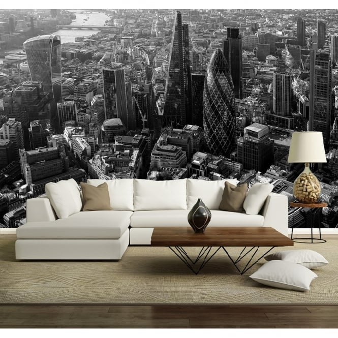 Rainbow London City Skyline Black & White Photo Mural Wall Decor R227