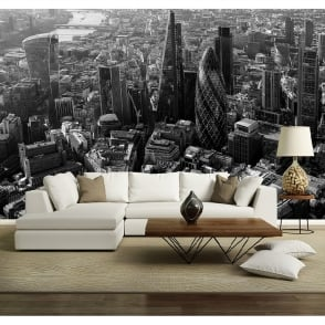 London City Skyline Black & White Photo Mural Wall Decor Rainbow R227