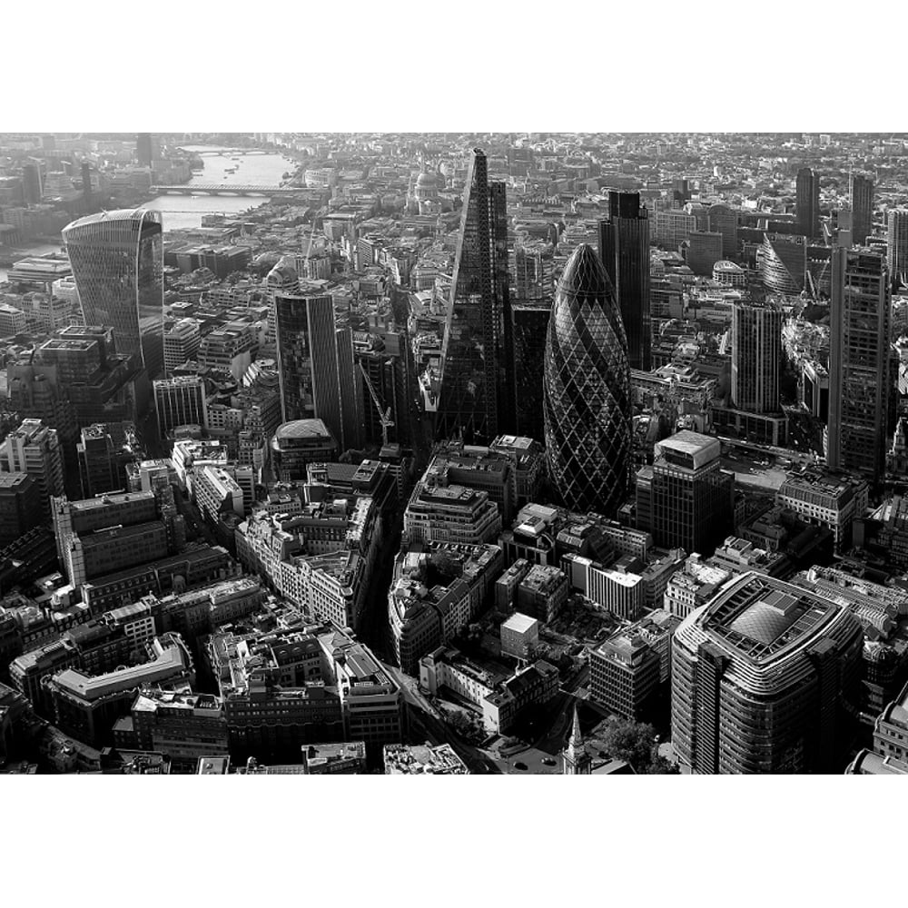 London city skyline black white photo mural wall decor rainbow r227