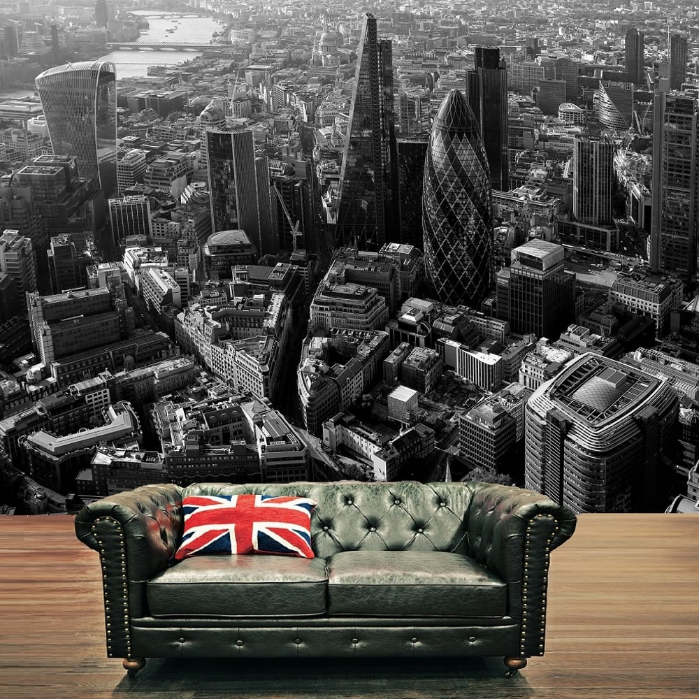 London city skyline black white photo mural wall decor for Black wall mural